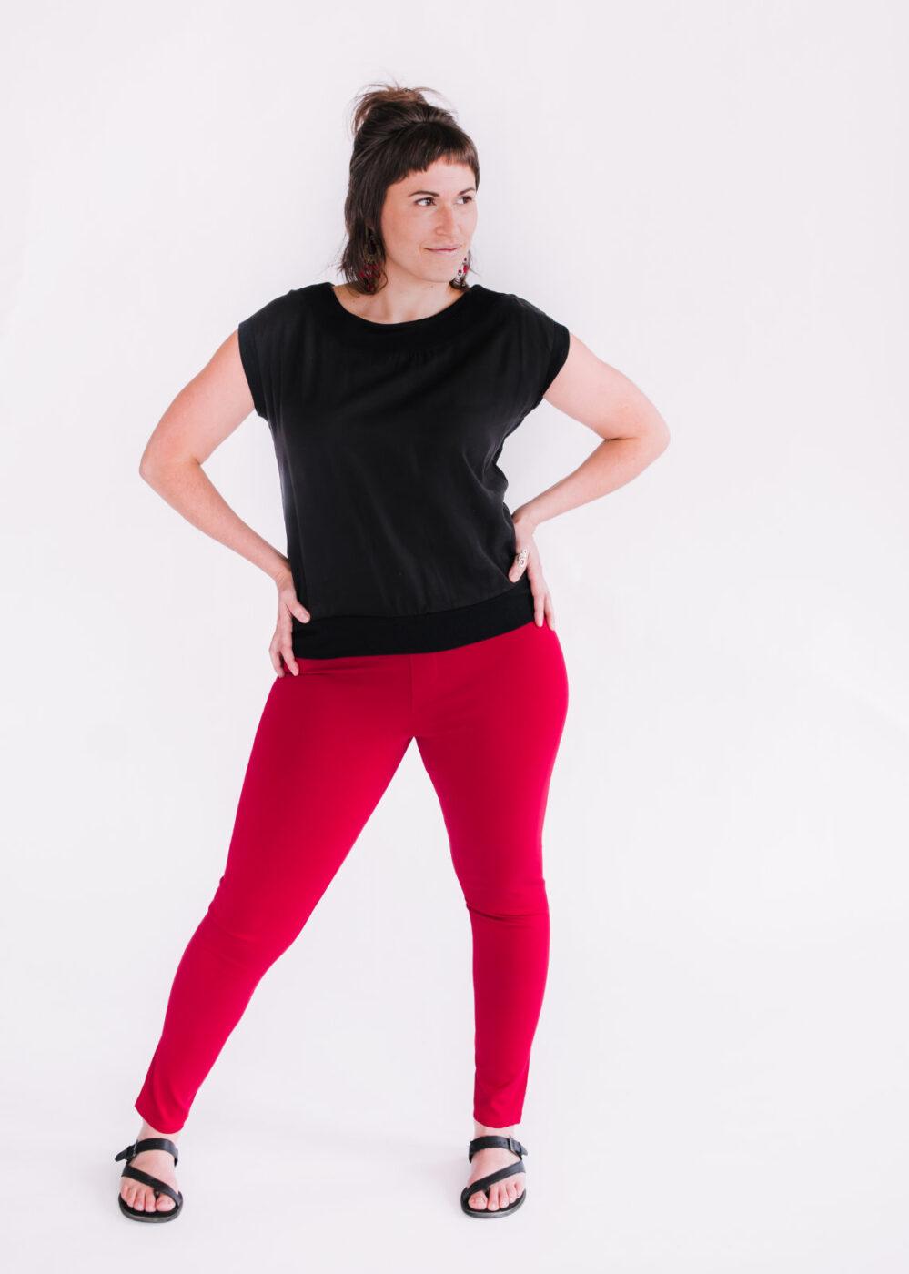 Top Jasmine noir et pantalons Délice rouge