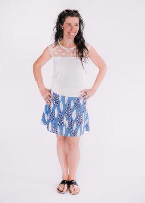 Top Mimi cœur ivoire et jupe Soleil bleue